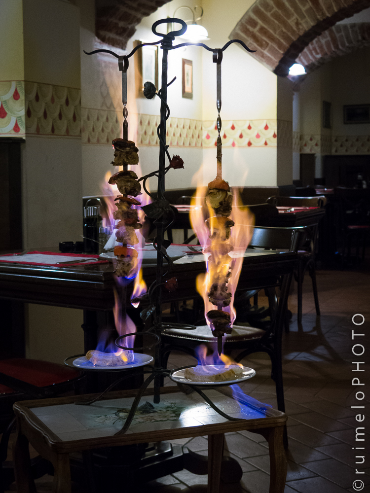 Fancy dinner in flames